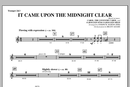 It Came Upon The Midnight Clear (from A Symphony Of Carols) - Bb Trumpet 2,3 (Choir Instrumental Pak)
