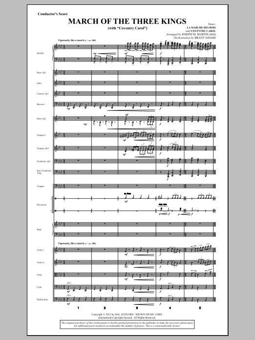 March Of The Three Kings (from A Symphony Of Carols) (COMPLETE) sheet music for orchestra/band by Joseph M. Martin. Score Image Preview.