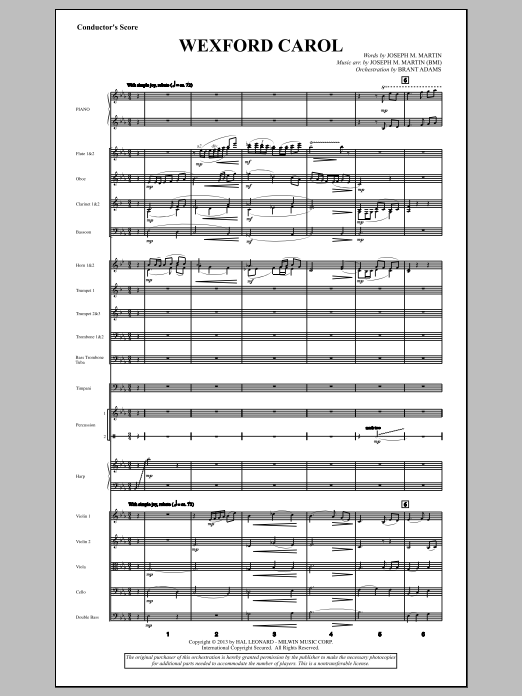 Wexford Carol (from A Symphony Of Carols) (COMPLETE) sheet music for orchestra/band by Joseph M. Martin and Miscellaneous. Score Image Preview.