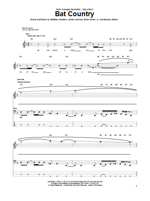 Tablature guitare Bat Country de Avenged Sevenfold - Tablature Basse