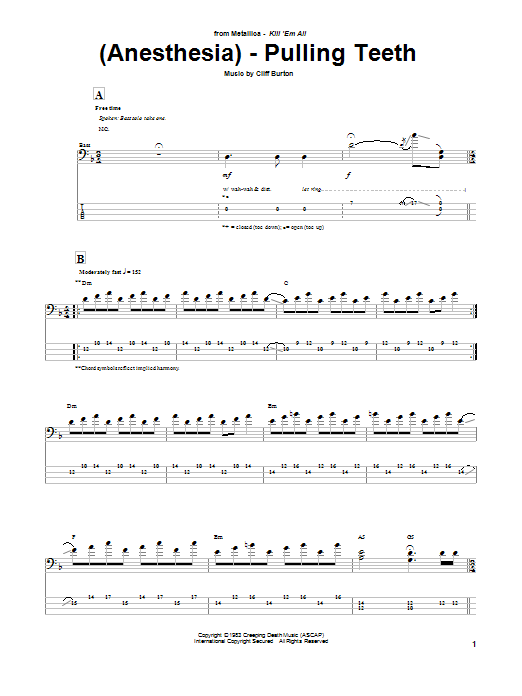 Tablature guitare (Anesthesia) - Pulling Teeth de Metallica - Tablature Basse