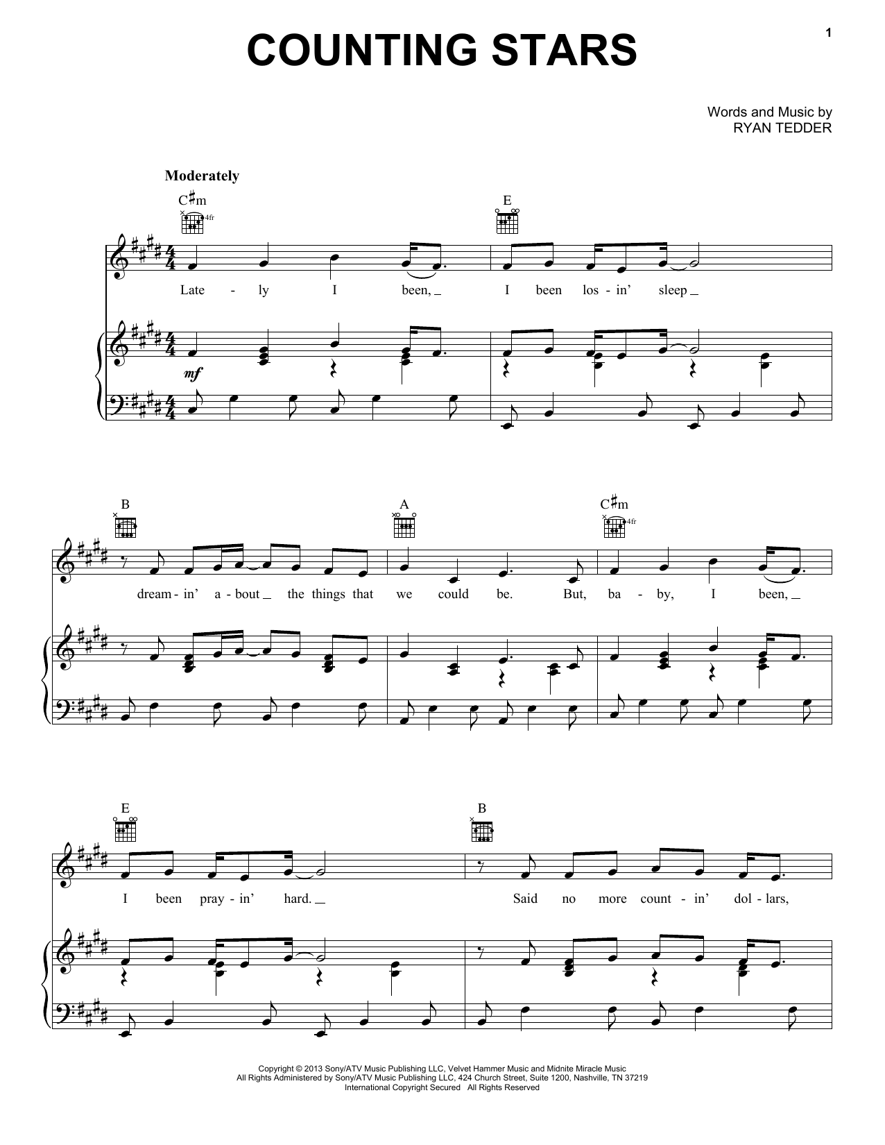 Counting Stars | Sheet Music Direct