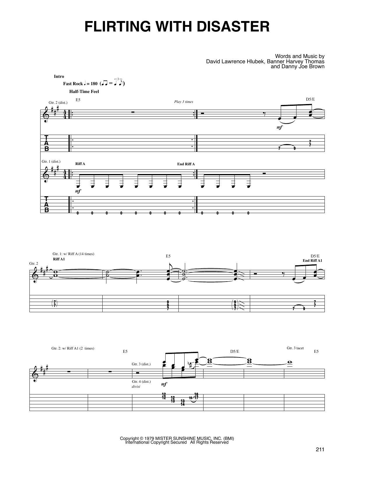 flirting with disaster molly hatchet guitar tabs music sheet music video