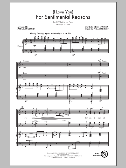 (I Love You) For Sentimental Reasons (arr. Paul Langford) Sheet Music