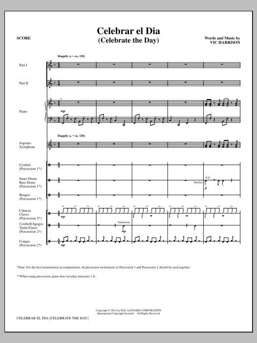Celebrar el Dia (Celebrate the Day) (COMPLETE) sheet music for orchestra/band (Percussion) by Vic Harrison. Score Image Preview.