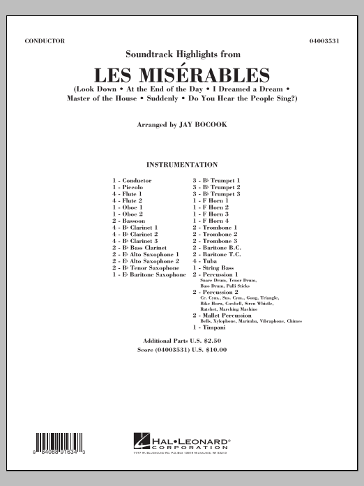 Soundtrack Highlights from Les Miserables (COMPLETE) sheet music for concert band by Jay Bocook. Score Image Preview.