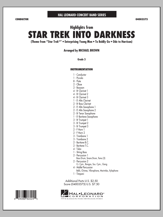 Highlights from Star Trek Into Darkness (COMPLETE) sheet music for concert band by Michael Brown and Michael Giacchino. Score Image Preview.
