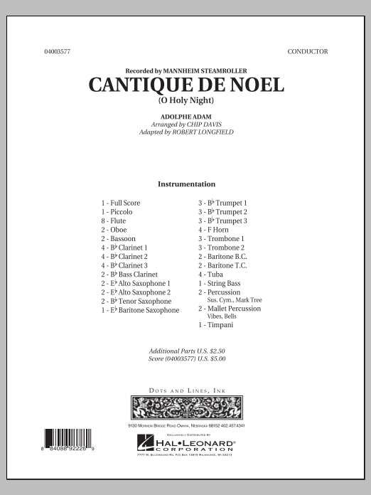 Cantique de Noel (O Holy Night) (COMPLETE) sheet music for concert band by Robert Longfield, Chip Davis and Mannheim Steamroller. Score Image Preview.