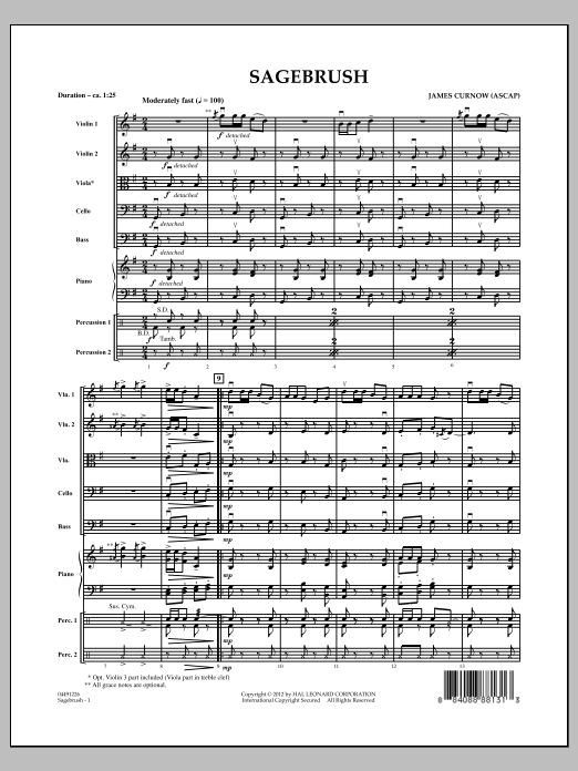 Sagebrush (COMPLETE) sheet music for orchestra by James Curnow. Score Image Preview.
