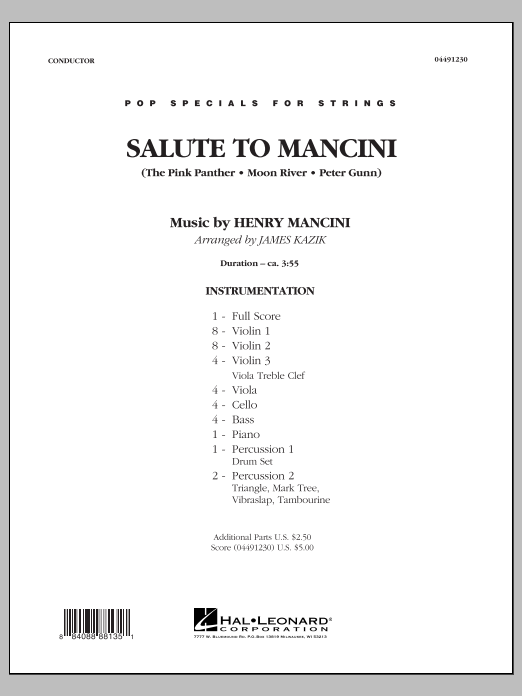 Salute to Mancini (COMPLETE) sheet music for orchestra by James Kazik and Henry Mancini. Score Image Preview.
