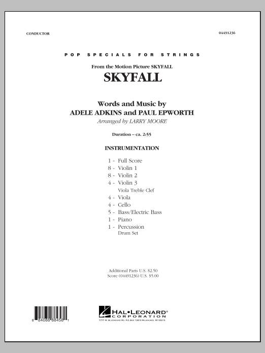 Skyfall (COMPLETE) sheet music for orchestra by Adele and Larry Moore. Score Image Preview.