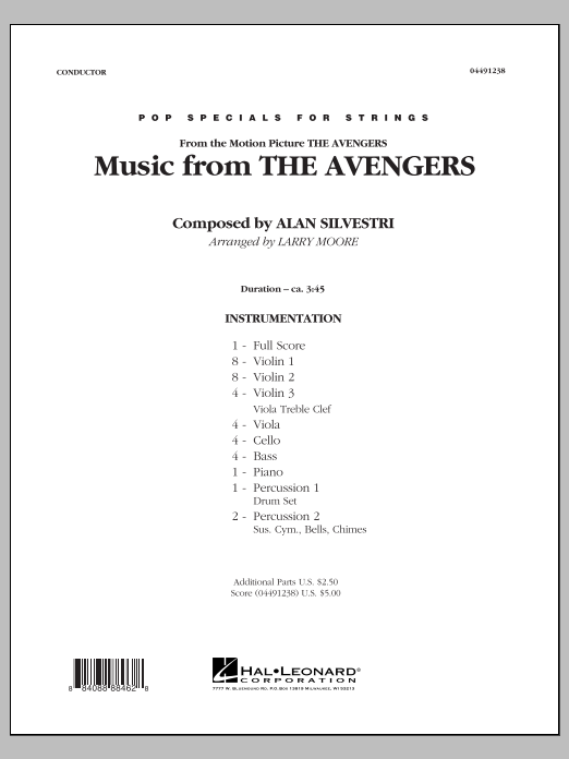 Music from The Avengers (COMPLETE) sheet music for orchestra by Larry Moore and Alan Silvestri. Score Image Preview.