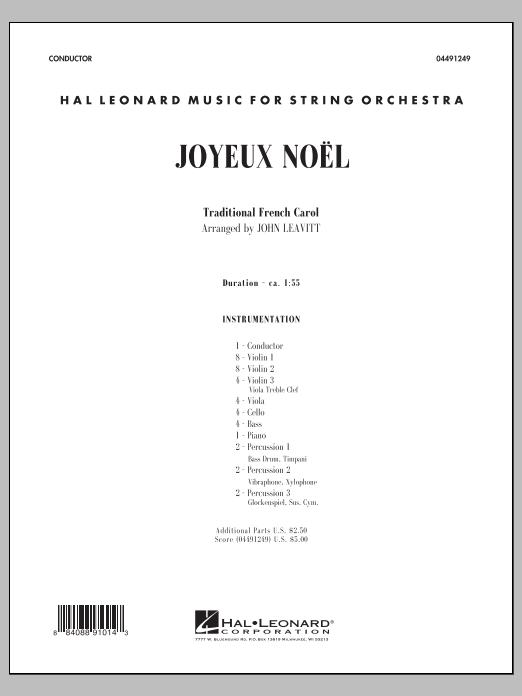 Joyeux Noel (COMPLETE) sheet music for orchestra by John Leavitt. Score Image Preview.