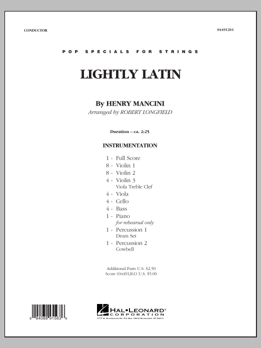 Lightly Latin (COMPLETE) sheet music for orchestra by Henry Mancini and Robert Longfield. Score Image Preview.