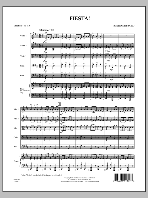 Fiesta (COMPLETE) sheet music for orchestra by Kenneth Baird. Score Image Preview.