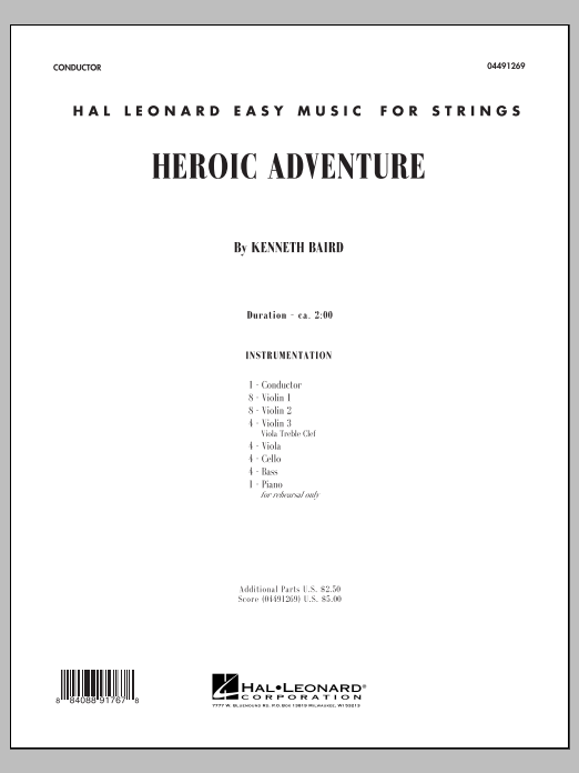 Heroic Adventure (COMPLETE) sheet music for orchestra by Kenneth Baird. Score Image Preview.