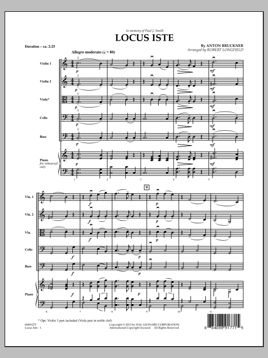 Locus Iste (COMPLETE) sheet music for orchestra by Anton Bruckner and Robert Longfield. Score Image Preview.
