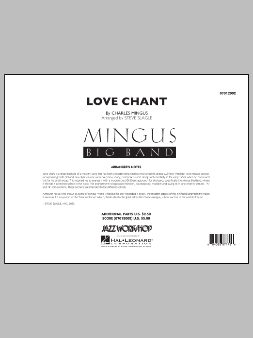 Love Chant (COMPLETE) sheet music for jazz band by Steve Slagle and Charles Mingus. Score Image Preview.