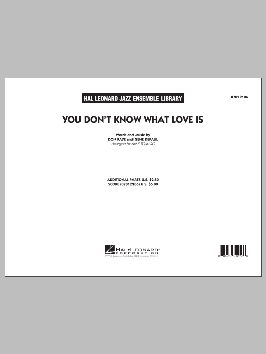 You Don't Know What Love Is (COMPLETE) sheet music for jazz band by Mike Tomaro. Score Image Preview.