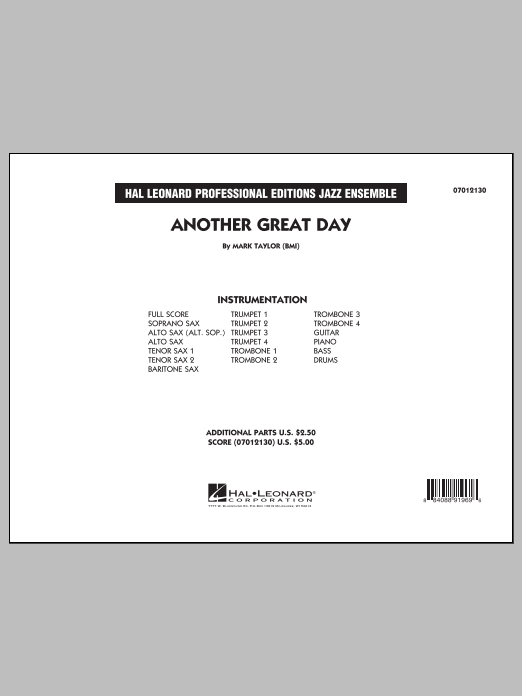 Another Great Day (COMPLETE) sheet music for jazz band by Mark Taylor. Score Image Preview.