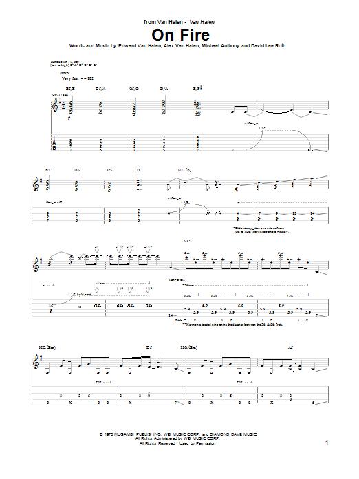 Tablature guitare On Fire de Van Halen - Tablature Guitare
