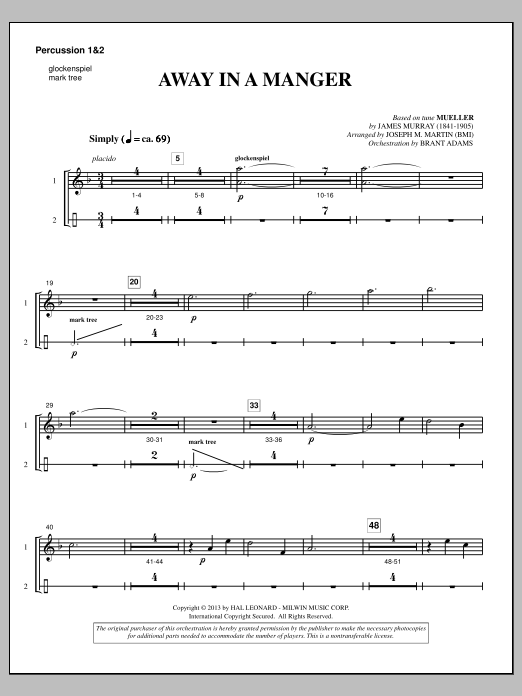 Away In A Manger (from A Symphony Of Carols) - Percussion 1 & 2 (Choir Instrumental Pak)