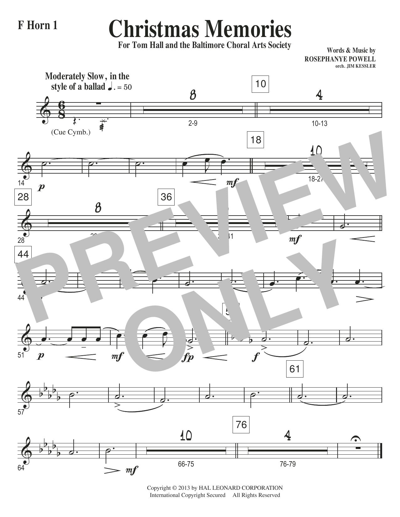 Christmas Memories - F Horn 1 Sheet Music
