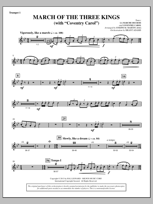 March Of The Three Kings (from A Symphony Of Carols) - Bb Trumpet 1 (Choir Instrumental Pak)
