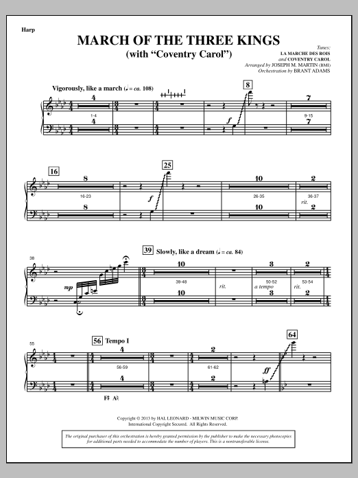 March Of The Three Kings (from A Symphony Of Carols) - Harp (Choir Instrumental Pak)