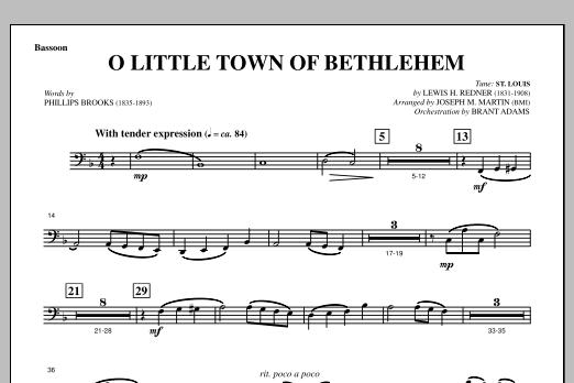 O Little Town Of Bethlehem (from A Symphony Of Carols) - Bassoon (Choir Instrumental Pak)