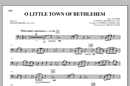 O Little Town Of Bethlehem (from A Symphony Of Carols) - Cello (Choir Instrumental Pak)