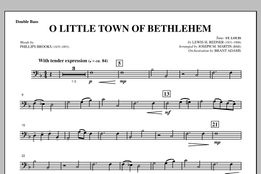 O Little Town Of Bethlehem (from A Symphony Of Carols) - Double Bass (Choir Instrumental Pak)
