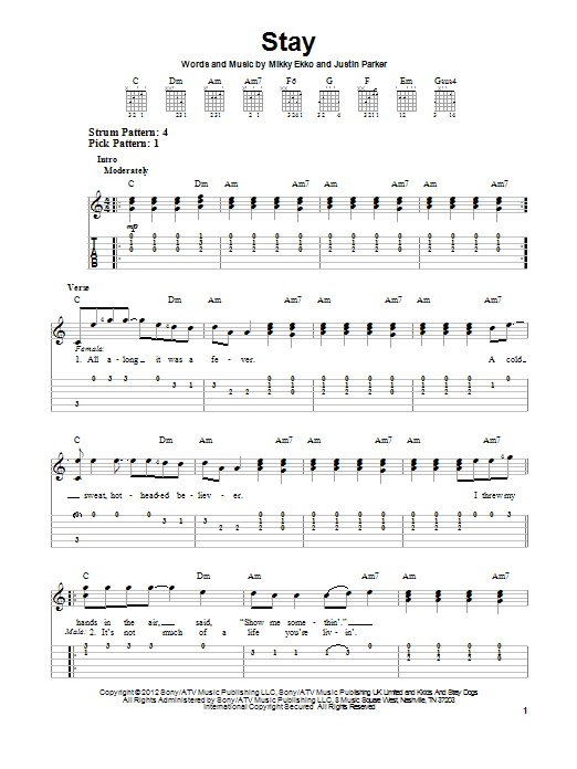 Piano stay rihanna piano chords : Stay sheet music by Rihanna (Easy Guitar Tab – 150474)