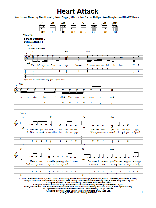 Tablature guitare Heart Attack de Demi Lovato - Tablature guitare facile
