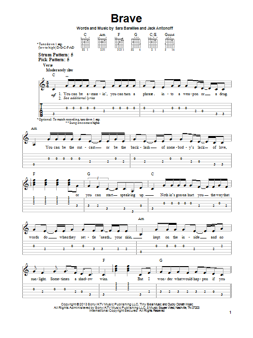 Brave by Sara Bareilles - Easy Guitar Tab - Guitar Instructor