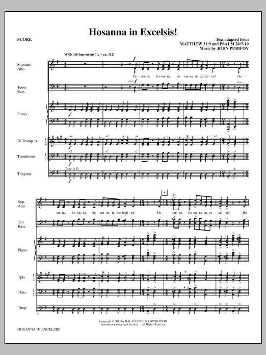 Hosanna in Excelsis! (COMPLETE) sheet music for orchestra/band by John Purifoy. Score Image Preview.