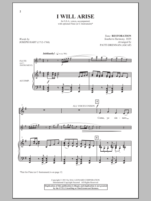 I Will Arise (arr. Patti Drennan) Sheet Music