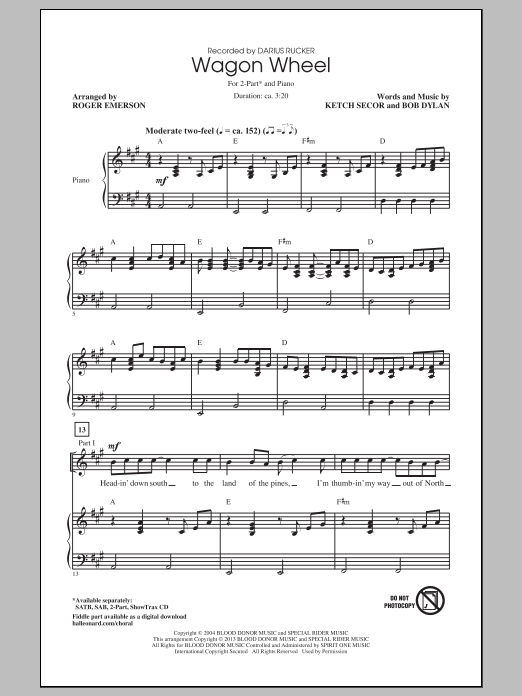 Wagon Wheel : Sheet Music Direct