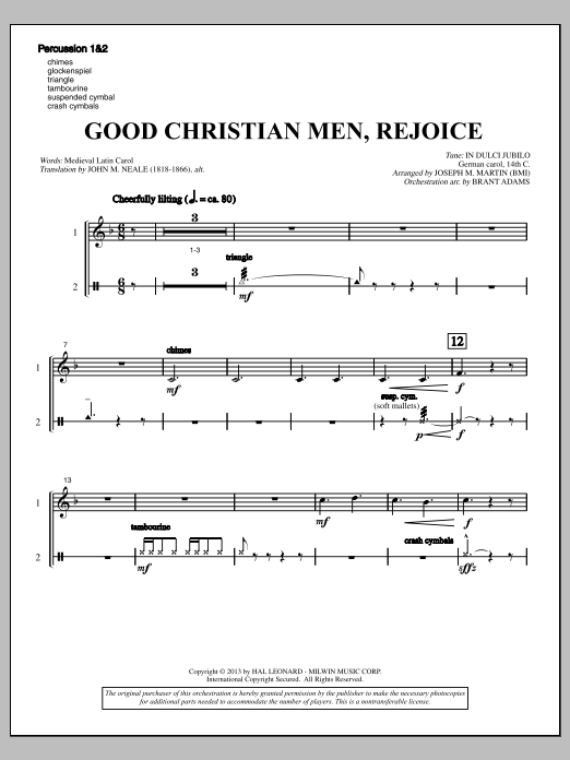 Good Christian Men, Rejoice (from A Symphony Of Carols) - Percussion 1 & 2 (Choir Instrumental Pak)