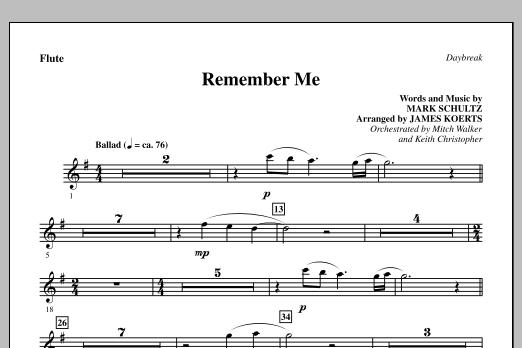 Remember Me - Flute (Choir Instrumental Pak)