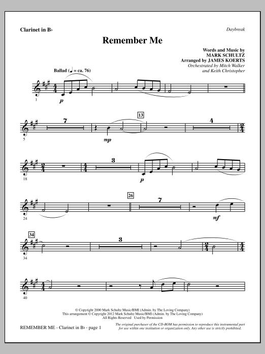 Remember Me - Bb Clarinet (Choir Instrumental Pak)