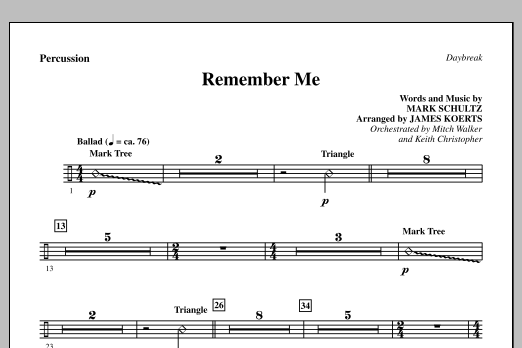 Remember Me - Percussion Sheet Music