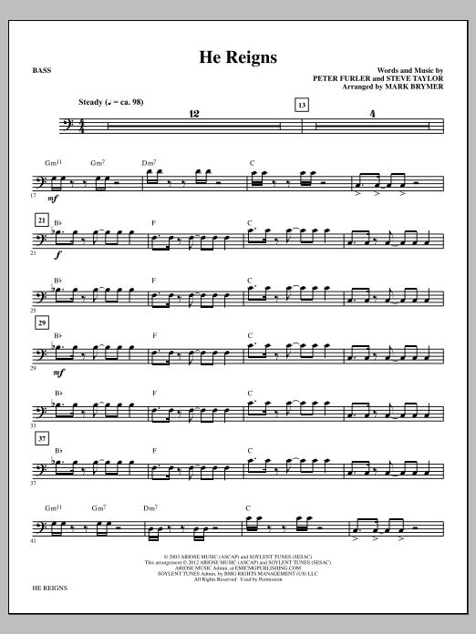 He Reigns - Bass (Choir Instrumental Pak)