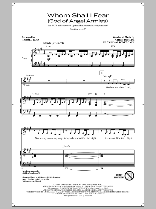 Whom Shall I Fear (God Of Angel Armies) Sheet Music