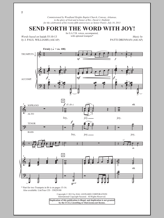 Partition chorale Send Forth The Word With Joy! de Patti Drennan - SATB