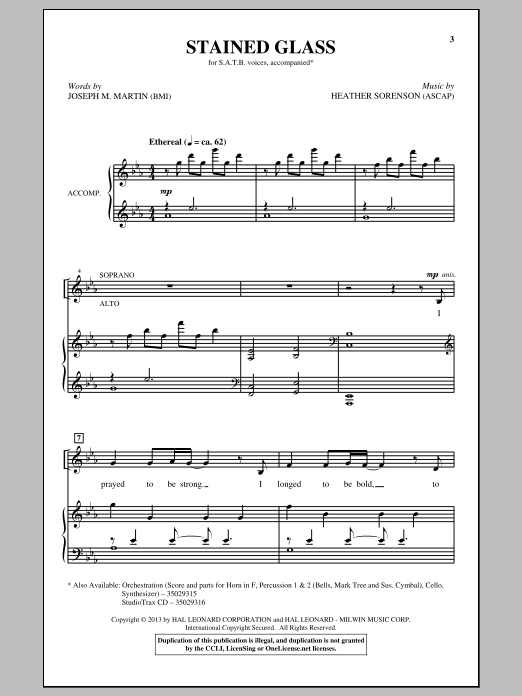 Partition chorale Stained Glass de Heather Sorenson - SATB