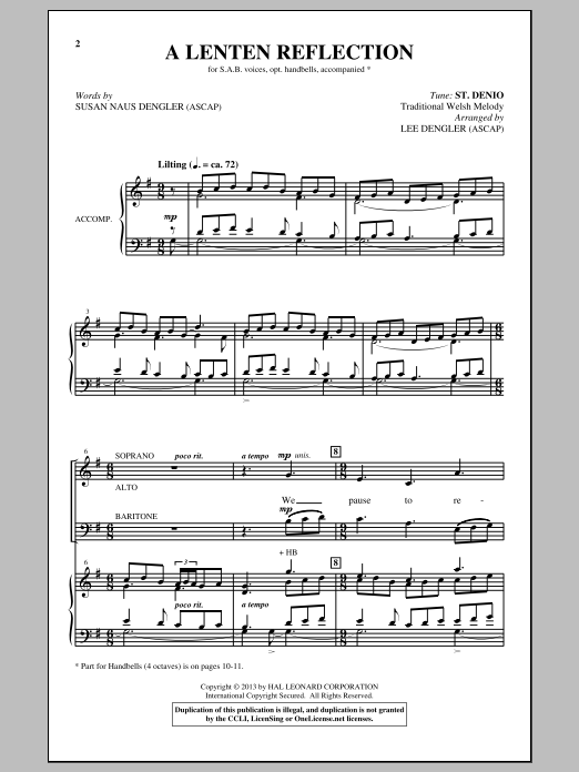A Lenten Reflection Sheet Music