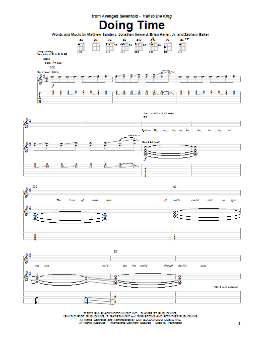 Tablature guitare Doing Time de Avenged Sevenfold - Tablature Guitare