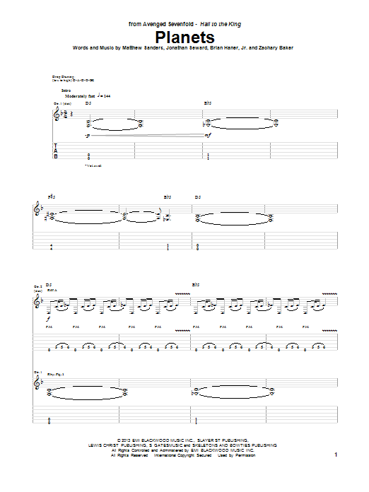 Tablature guitare Planets de Avenged Sevenfold - Tablature Guitare