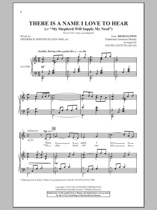 There Is A Name I Love To Hear Sheet Music